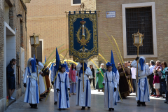 Guión titular entrando en Plaza de San Bruno. Autora: Eugenia Aragonés.