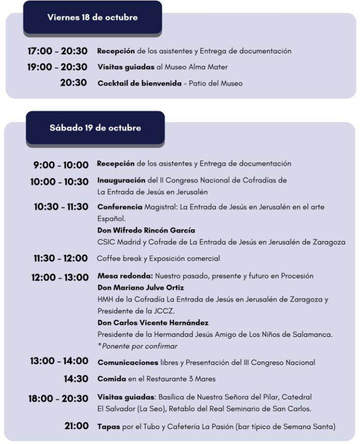 programa viernes y sabado II congreso nacional